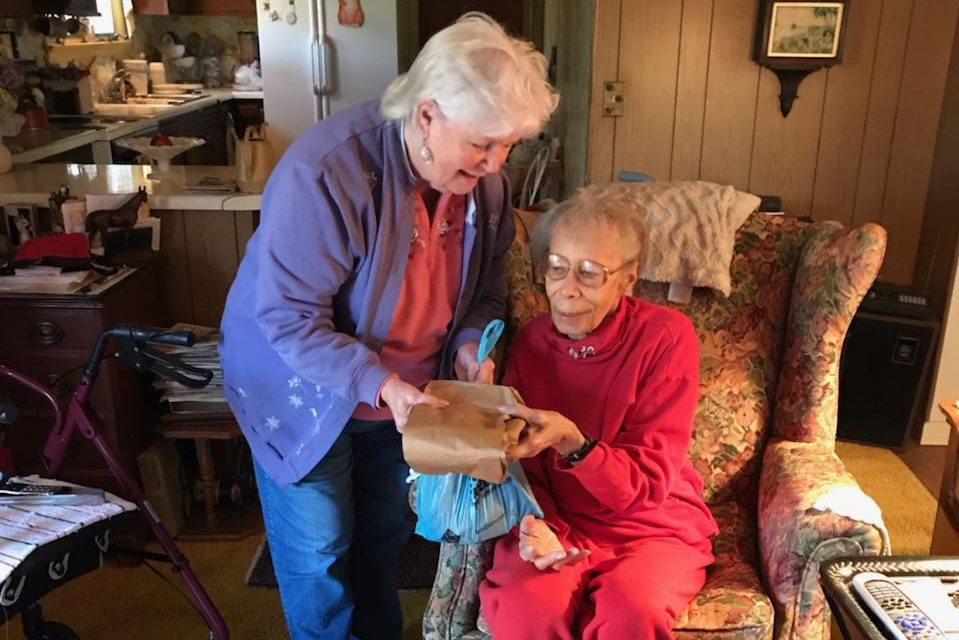 Meals on Wheels serving woman in home